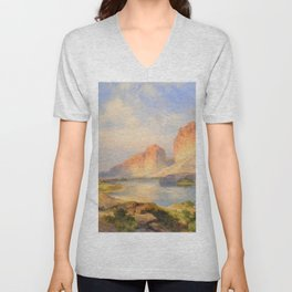 Red Sandstone Cliffs of the Upper Colorado River (Green River, Wyoming) landscape by Thomas Mann Unisex V-Neck