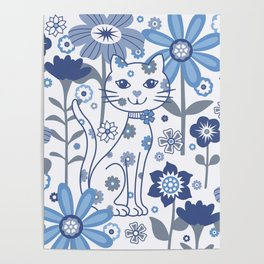 Blue and White Garden Cat Poster