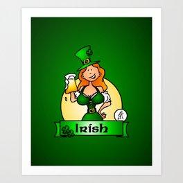 St. Patrick's Day Irish Maiden Art Print