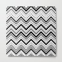 Black and white pattern with lines and dots Metal Print