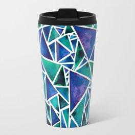 Geometric Turquoise and Blue Triangles Travel Mug