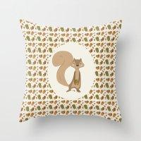 squirrel Throw Pillows featuring Squirrel by Jane Mathieu