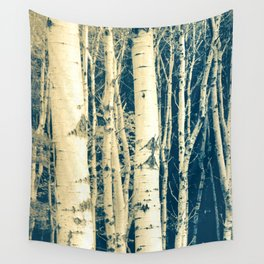Winter Birch Cyanotype Wall Tapestry