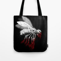 politics Tote Bags featuring INSECT POLITICS by BeastWreck