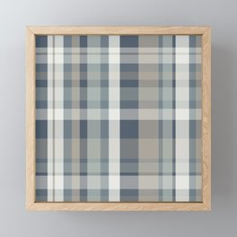 Retro Modern Plaid Pattern 2 in Neutral Blue Gray Framed Mini Art Print