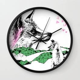 Fox & Cub, Green & Pink Wall Clock