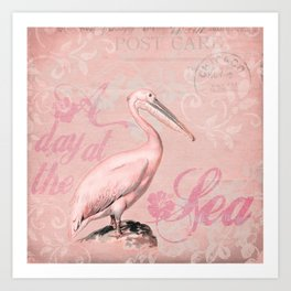 Retro Pelican Vintage Style Illustration Art Print