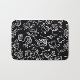 Original graphic art, flowers, white ink Bath Mat