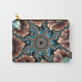 Elegant Scallops Feather Abstract Fractal Brown Aqua Turquoise Cream Shiny Stylish Digital Graphic Carry-All Pouch