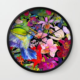 Hummingbirds Black Wall Clock