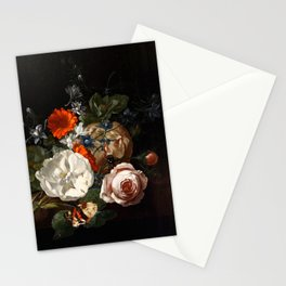 Dark Floral Oil Painting Stationery Cards