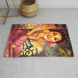 Jesus Helguera Painting of a Mexican Girl Beside Rattan Curtain Rug