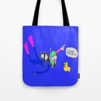 yellow submarine Tote Bags featuring underneath the yellow submarine by Davey Charles