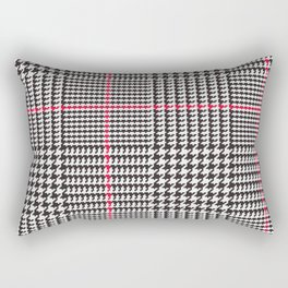 Black and White Glen Plaid with Red Stripe Rectangular Pillow