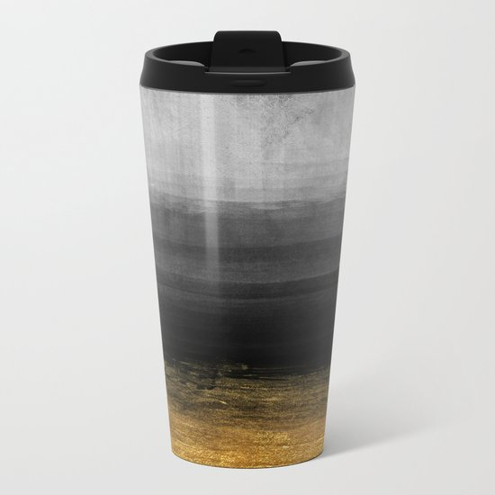 Black and Gold grunge stripes on modern grey concrete abstract backround- Stripe-Striped Metal Travel Mug