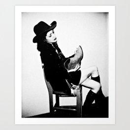B & W Cowgirl Art Print