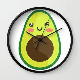 Avocado Kawaii Cute Wall Clock