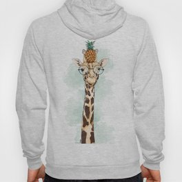 Intelectual Giraffe with a pineapple on head Hoody