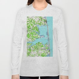 Vintage Rehoboth & Bethany Beach DE Map (1938) Long Sleeve T-shirt