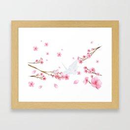 Cherry Blossom Crane Framed Art Print