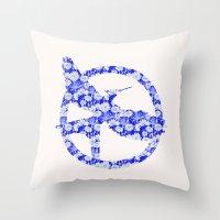 mockingjay Throw Pillows featuring Mockingjay - Floral by Elisa Gordon