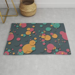 """Retro Colorful Polka Dots"" Rug"