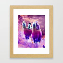 Kitty Cat Riding On Rainbow Llama In Space Framed Art Print