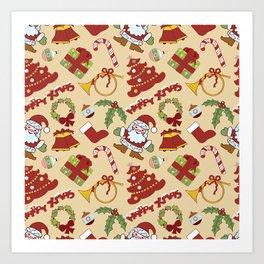 Christmas bells,tree and santa claus SB10 Art Print