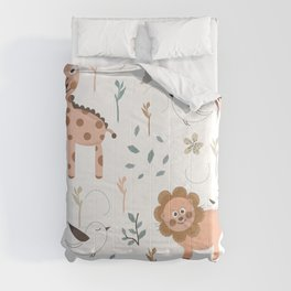 Seamless kids pattern with giraffe, lion and birds Comforters