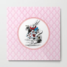 Alice in Wonderland | The Herald of the Court of Hearts | White Rabbit | Pink Damask Pattern | Metal Print