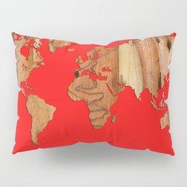 Wood bark - Red - Organic World Map Series Pillow Sham