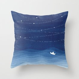 Follow the garland of stars, ocean, sailboat Throw Pillow