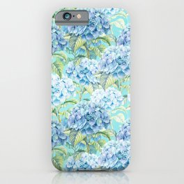 Blue floral hydrangea flower flowers Vintage watercolor pattern iPhone Case