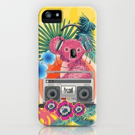 Pink koala with boombox and tropical leaves design iPhone Case