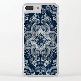 Indigo blue dirty denim textured boho pattern Clear iPhone Case