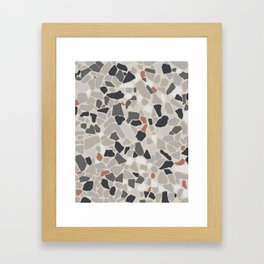 Terrazo Texture - Gray and orange pattern Framed Art Print