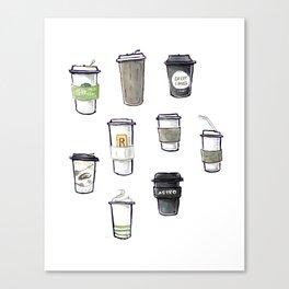 one regular coffee, to go, soy milk, 2 pumps vanilla Canvas Print