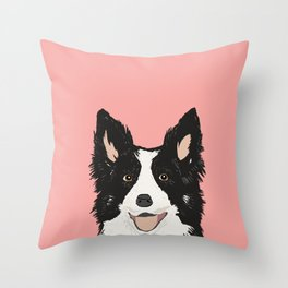 Border Collie pet portrait pink background dog lover art gifts Throw Pillow