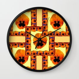 DECO ORANGE PANSIES ON YELLOW COLOR Wall Clock