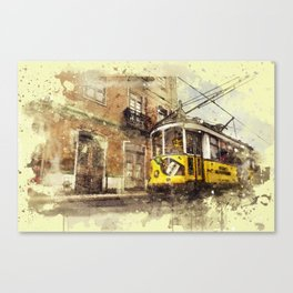 Trolly Train Car subway vintage rustic watercolor painting acrylic france europe italy amsterdam art Canvas Print