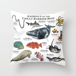 Animals of the Great Barrier Reef Throw Pillow
