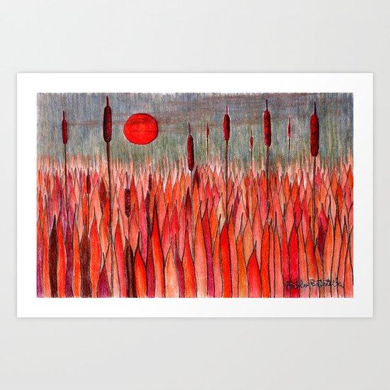 Sunset Over the Cattail Field Art Print