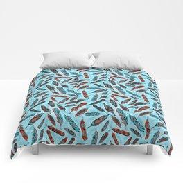 Tlingit Feathers Blue Comforters