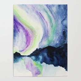 Northern Lights Watercolor Poster
