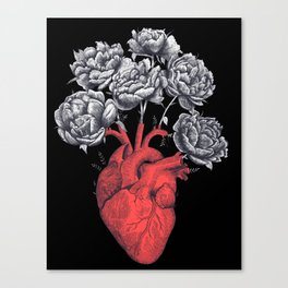 Heart with peonies on black Canvas Print