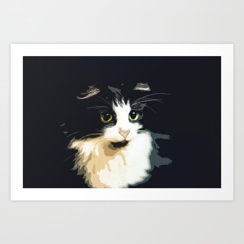 Cute Black And White Tuxedo Cat Art Print By Azllip Society6