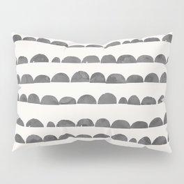 Artistic modern gray white watercolor scalloped Pillow Sham