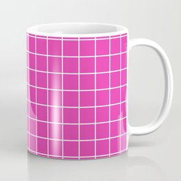 Frostbite - pink color - White Lines Grid Pattern Coffee Mug