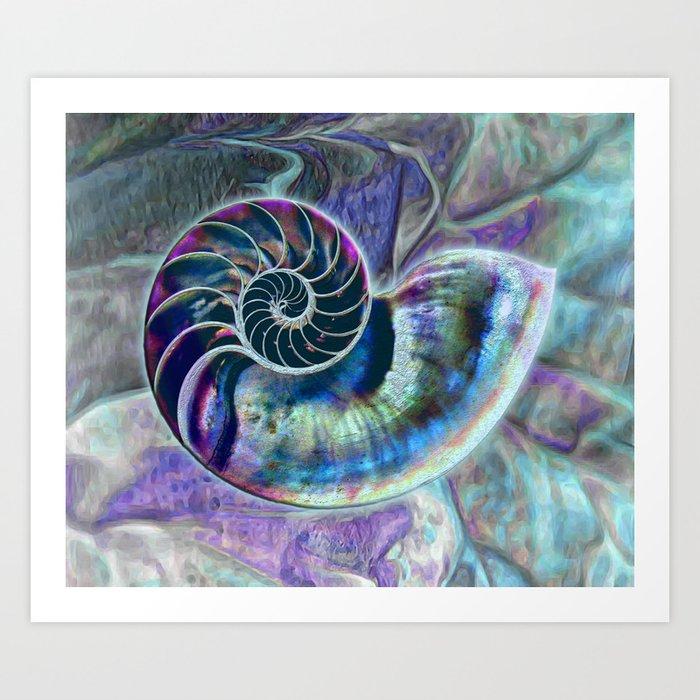 Iridescent Shell Snail Fossil Kunstdrucke