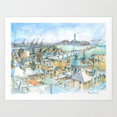 Il Porto (view of Genoa) Art Print